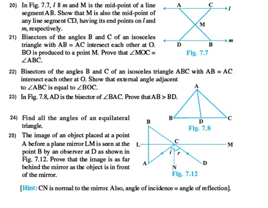 Important questions for class 9 maths Chapter 7 Triangles