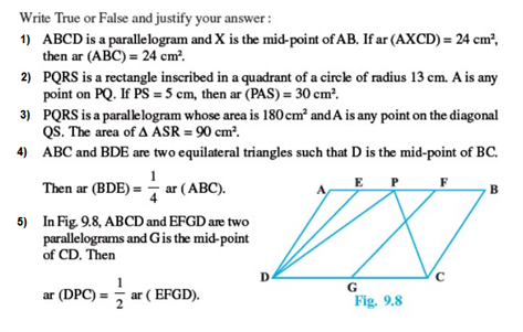 Important Questions Class 9 Maths Chapter 9 Areas Parallelograms Part 1