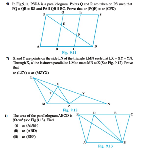 Important Questions Class 9 Maths Chapter 9 Areas Parallelograms Part 2
