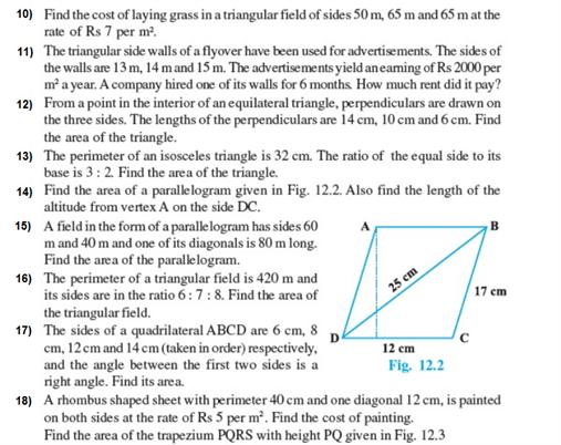 Important Questions Class 9 Maths Chapter 12 Herons Formula Part 2