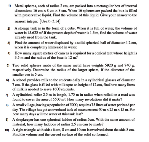 important questions class 9 maths chapter 13 surface areas volumes 1