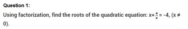 Important Questions Class 10 Maths Chapter 4 Quadratic Equations Part 1