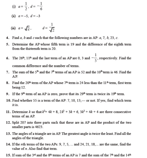 Important Questions Class 10 Maths Chapter 5 Arithmetic Progressions Part 2