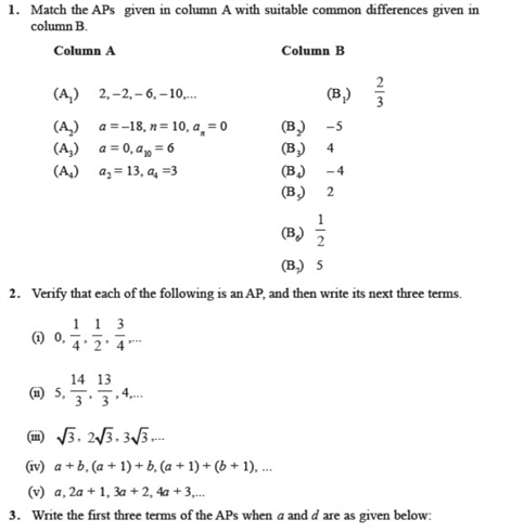 Important Questions Class 10 Maths Chapter 5 Arithmetic Progressions Part 1