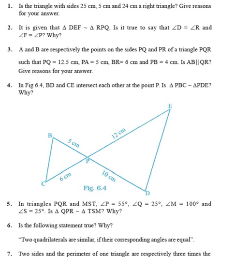 important questions class 10 maths chapter 6 triangles 1