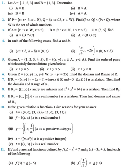 important questions class 11 maths chapter 2 relations functions 1