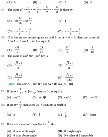 Important questions for class 11 Maths Chapter 3 Trigonometric Functions