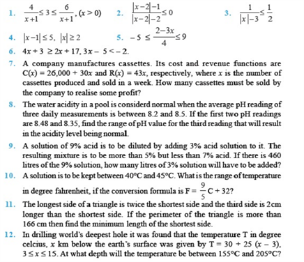 Important Questions Class 11 Maths Chapter 6 Linear Inequalities Part 1