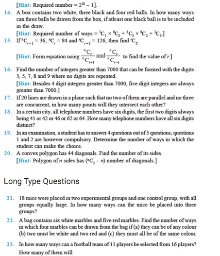 Important Questions Class 11 Maths Chapter 7 Permutations Combinations Part 2