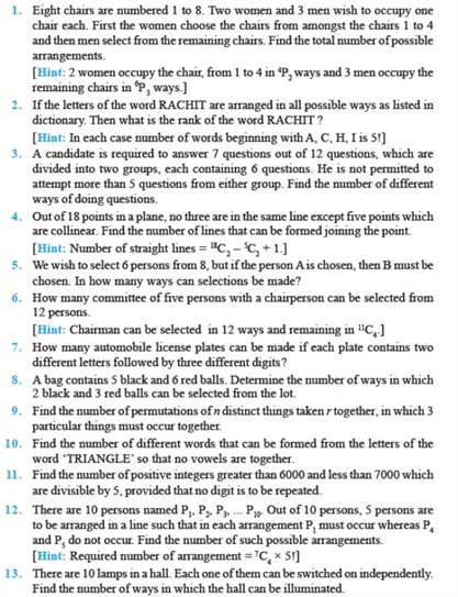 Important Questions Class 11 Maths Chapter 7 Permutations Combinations Part 1
