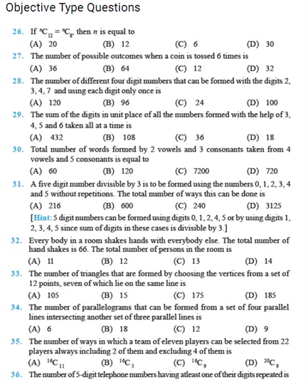 Important Questions Class 11 Maths Chapter 7 Permutations Combinations Part 4