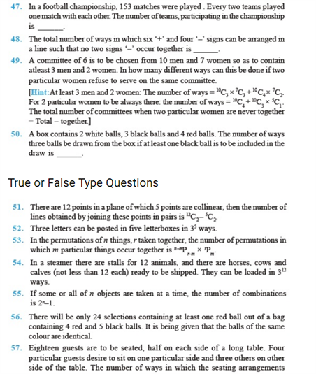 Important Questions Class 11 Maths Chapter 7 Permutations Combinations Part 6