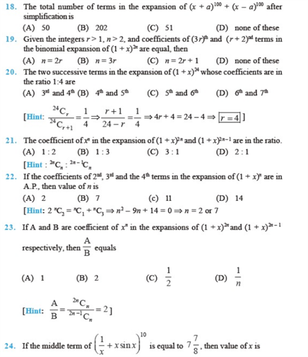 Important Questions Class 11 maths Chapter 8 Binomial Theorem Part 3