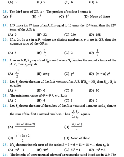 Important Questions Class 11 Maths Chapter 9 Sequences Series Part 3