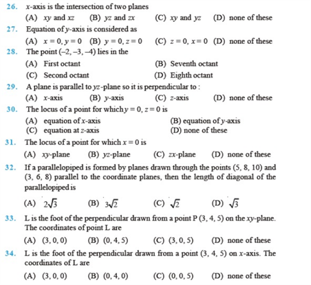 important questions class 11 maths chapter 12 introduction 3 d geometry 3