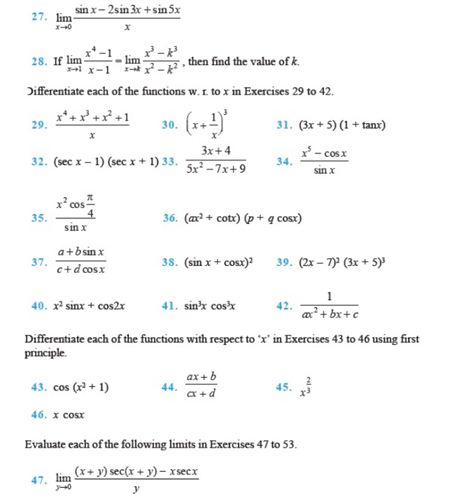 Important Questions Class 11 Maths Chapter 13 Limits Derivatives Part 2