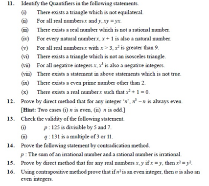 Important Questions Class 11 Maths Chapter 14 Mathematical Reasoning Part 4