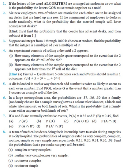 Important Questions Class 11 Maths Chapter 16 Probability Part 1