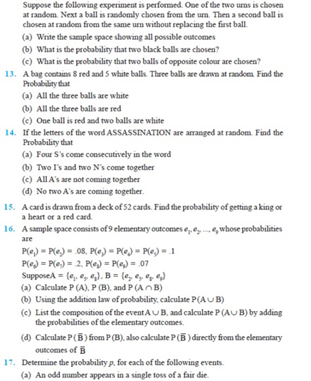 Important Questions Class 11 Maths Chapter 16 Probability Part 3