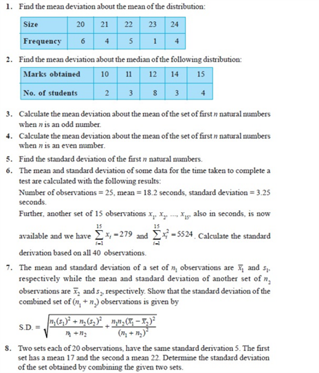 Important Questions Class 11 Maths Chapter 15 Statistics Part 1