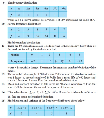 Important Questions Class 11 Maths Chapter 15 Statistics Part 2