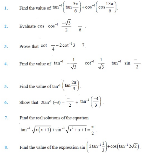 Important Questions Class 12 Maths Chapter 2 Inverse Trigonometric Functions Part 1