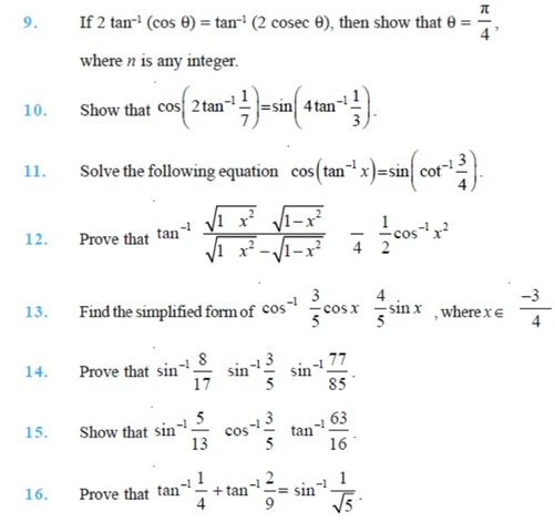 Important Questions Class 12 Maths Chapter 2 Inverse Trigonometric Functions Part 2