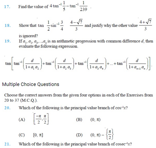 Important Questions Class 12 Maths Chapter 2 Inverse Trigonometric Functions Part 3