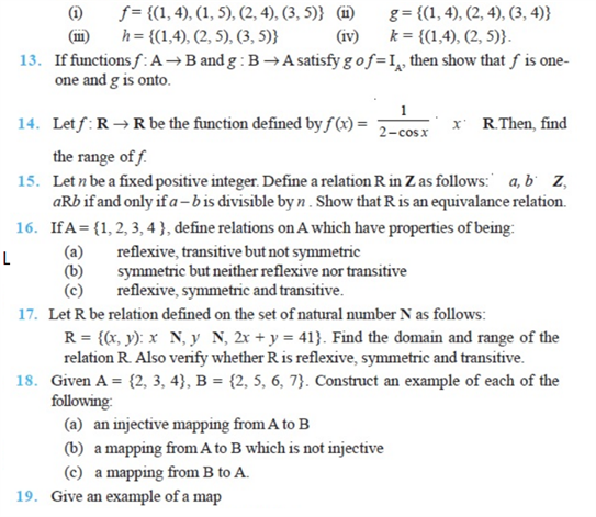 important questions class 12 maths chapter 1 relations functions 2