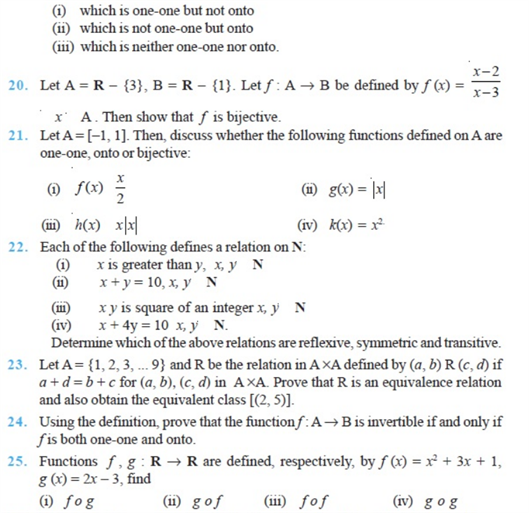 Important questions for class 12 maths Chapter 1 Relations and Functions