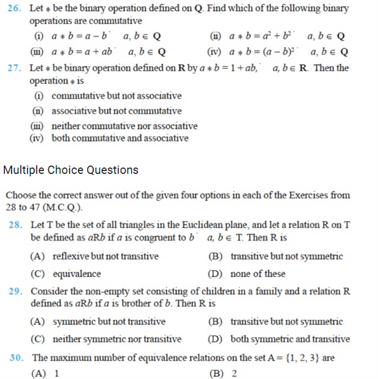 Important questions for class 12 maths Chapter 1 Relations
