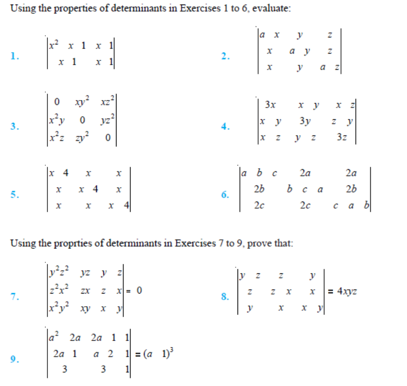 important questions class 12 maths chapter 4 determinants 1