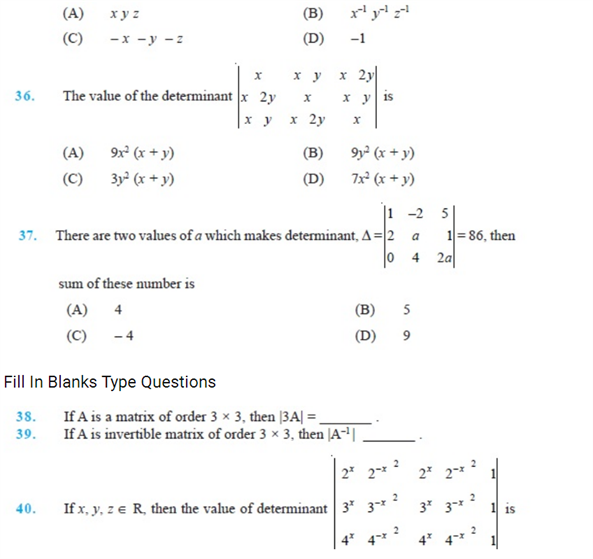 important questions class 12 maths chapter 4 determinants 8