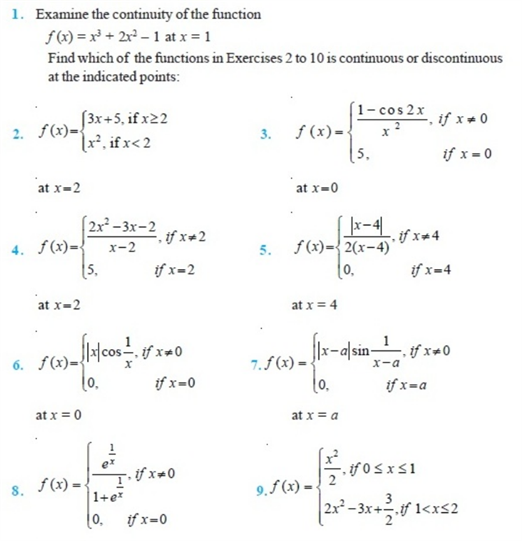 important questions class 12 maths chapter 5 continuity differentiability 1