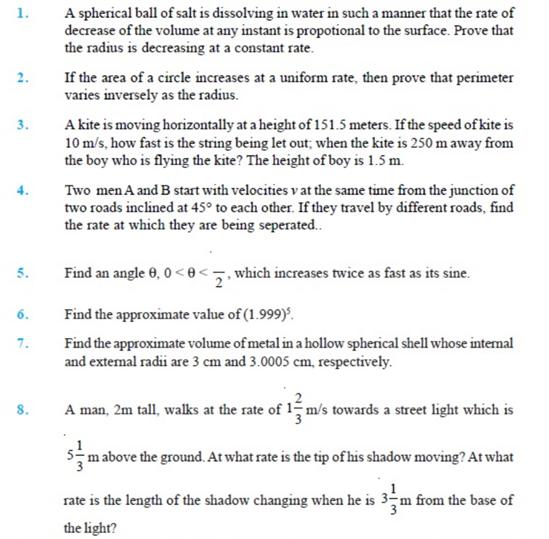 Important Questions Class 12 maths Chapter 6 Applications Derivatives Part 1