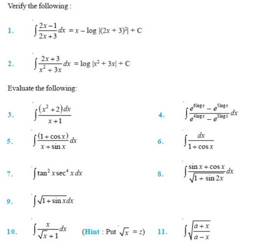 Important Questions Class 12 Maths Chapter 7 Integrals Part 1