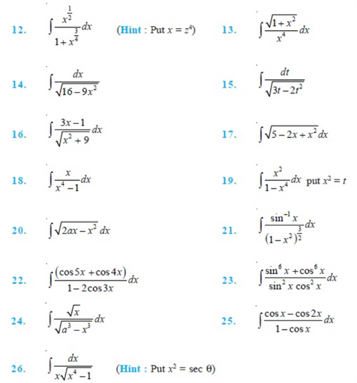 Important Questions Class 12 Maths Chapter 7 Integrals Part 2