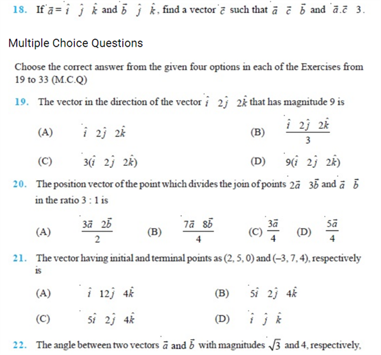 Important Questions Class 12 Maths Chapter 10 Vectors Part 3