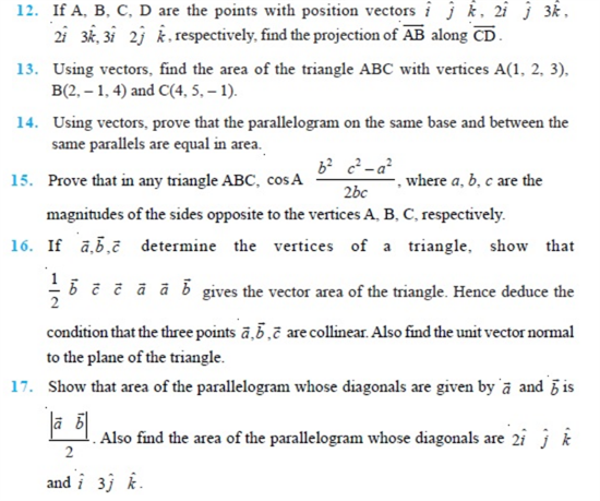 Important Questions Class 12 Maths Chapter 10 Vectors Part 2