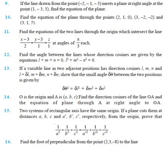 Important Questions Class 12 Maths Chapter 11 Three Dimensional Geometry Part 2
