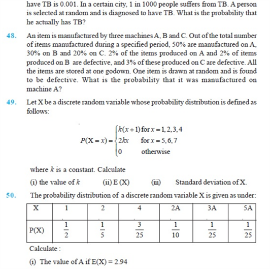 Important questions for class 12 maths Chapter 13 Probability