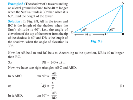 Some Application Of Trigonometry For Class 10