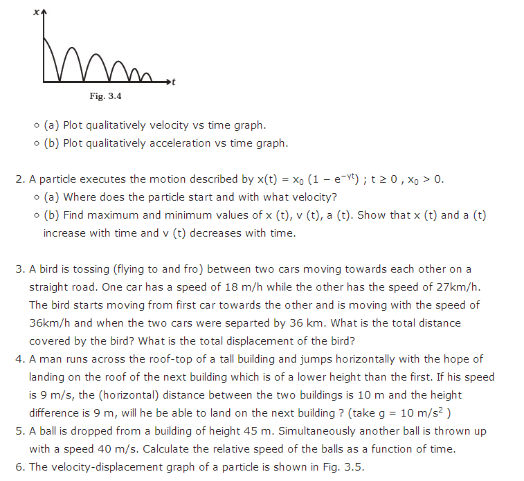 important questions class 11 physics chapter 2 motion straight line 2