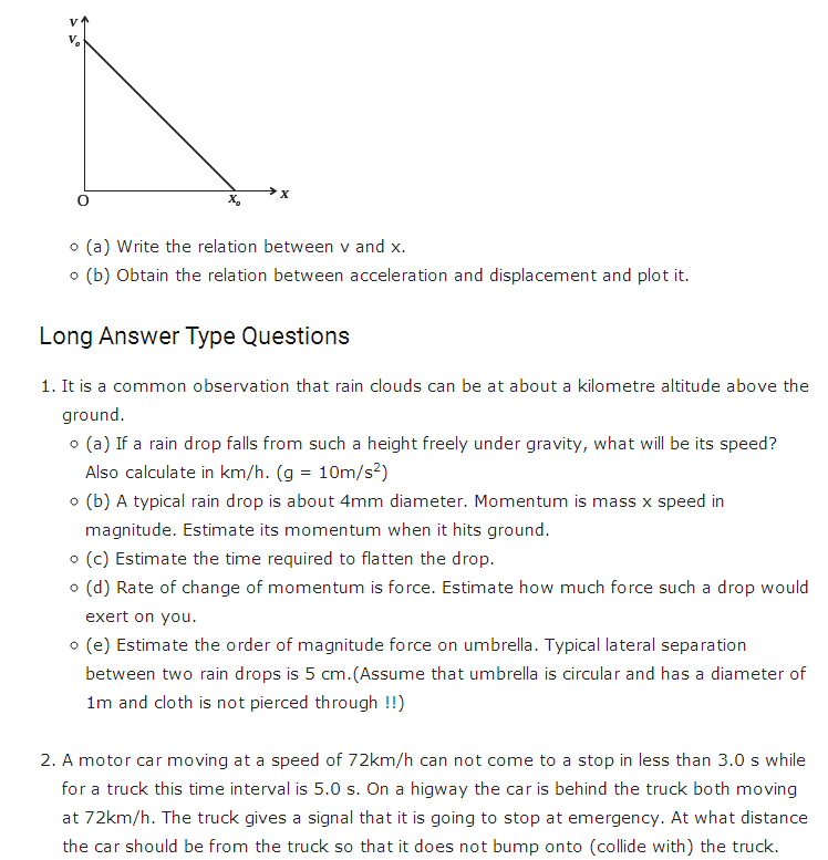 important questions class 11 physics chapter 2 motion straight line 3