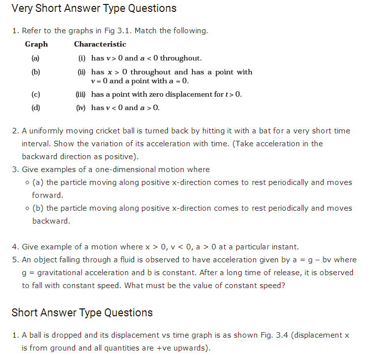 important questions class 11 physics chapter 2 motion straight line 1