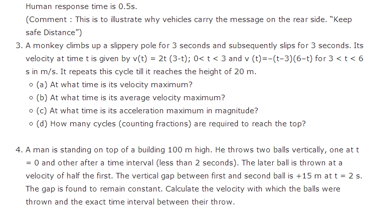 important questions class 11 physics chapter 2 motion straight line 4