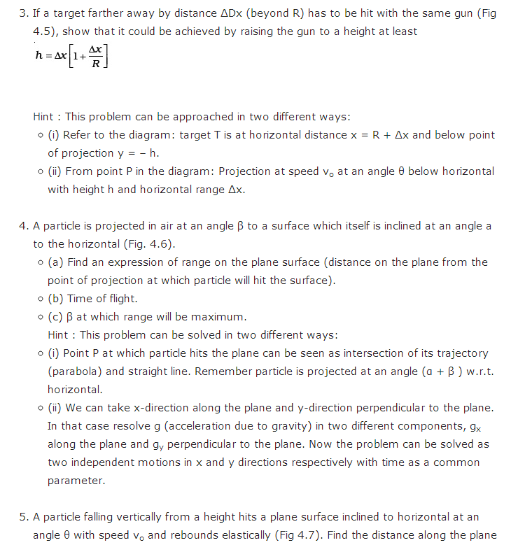 important questions class 11 physics chapter 3 motion plane 5