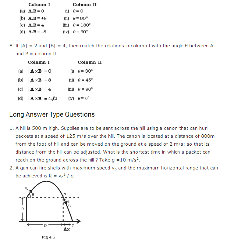 important questions class 11 physics chapter 3 motion plane 4