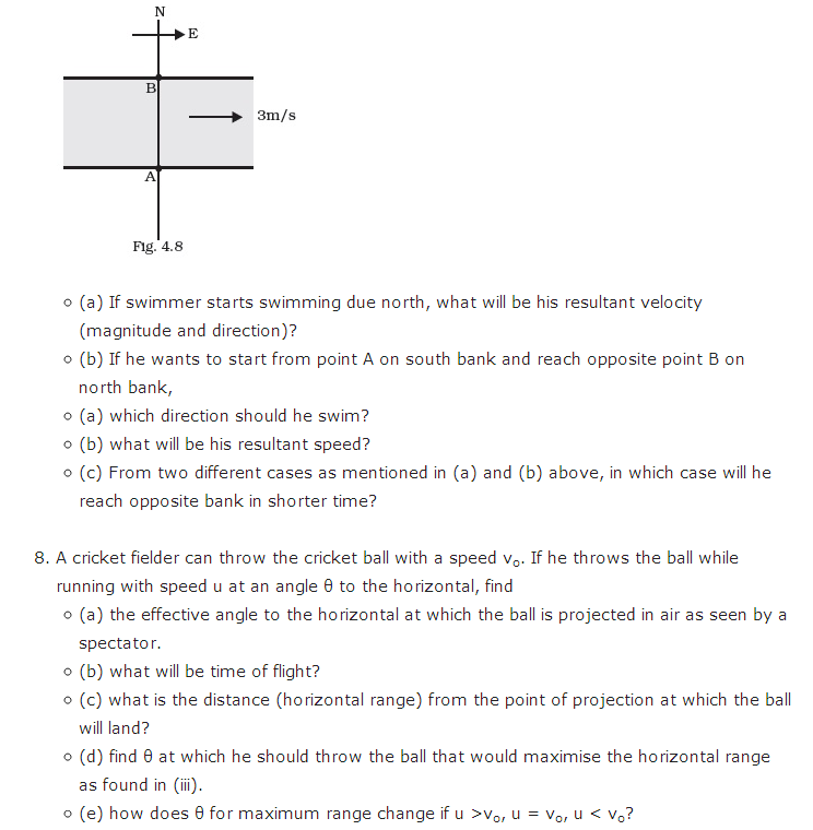 important questions class 11 physics chapter 3 motion plane 7