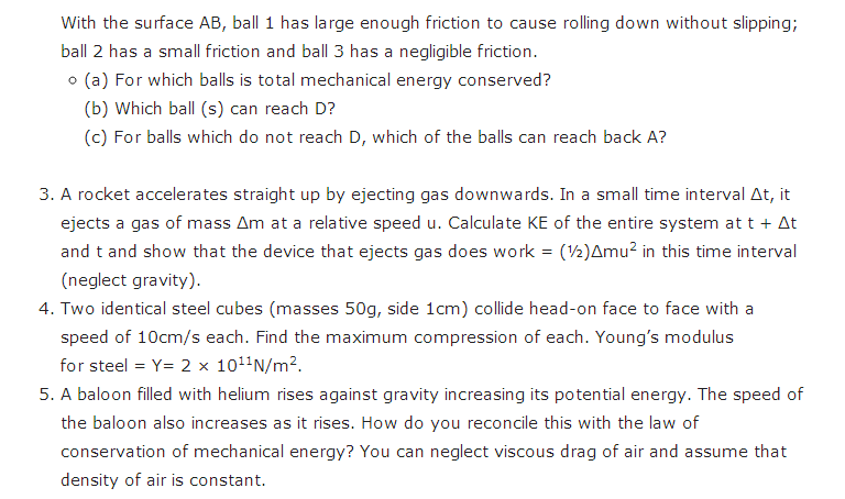 Important questions for class 11 Physics Chapter 5 Work, Energy and
